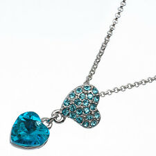 4.58 Ct Heart Cut Style Shape Blue Topaz 18K White Gold Plated Pendant