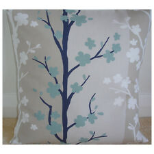"NEW 20"" Cushion Cover Duck Egg and Dark Navy Blue White Beige  Floral Trees"