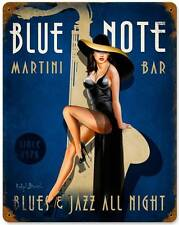 New! Blue Note Martini Jazz Bar Licensed Metal Sign Decor by Ralph Burch RB068
