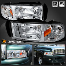 1994-2001 Dodge Ram 1500 2500 1PC Crystal Headlights Chrome Clear