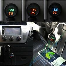 Mini 3in1 USB Car Charger Car Digital Battery Monitor LED Voltmeter Thermometer