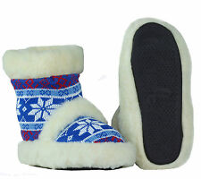 New Natural Sheep Wool Slippers Home Bootie Shoes   US SELLER Size 8.5-9 Blue