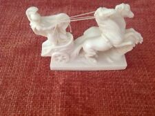 A Santini Italian #755 Sculpture Roman Solider on Chariot Horses White Oxolyte