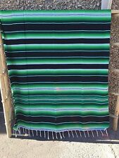 SERAPE XXL,5'X7' Mexican blanket,HOT ROD, covers, MOTORCYCLE, BLACK AND GREEN