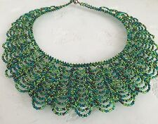 Czech Glass Bead SCALLOPED Bib Collar NECKLACE Multi Green Blue Boho Chic