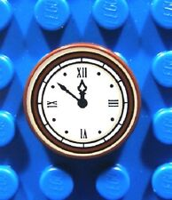 LEGO CLOCK ~ Minifigure Round Brown & Tan 2x2 Tile with Roman Numerals   * NEW *