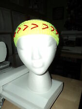Hand Crocheted Headbands in Softball Yellow & Red Stitching