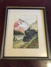 1923 Watercolour - Transcontinental Express Passing Through Rockies - Signed Whr