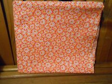 Fabric 1 Yard Crazy Daisy White Flower Yellow Center Orange Quilting Cotton