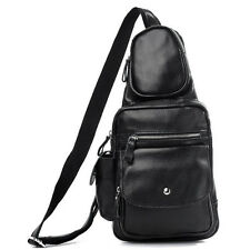 Boy's Mens 100% Real Leather Black Packs Bags Backpacks shoulder Chest Sling Bag