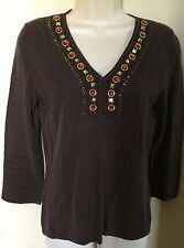 Cable & Gauge 3/4 Sleeve V-Neck Brown Thin Sweater w/ Orange/Gold Gems  Sz S