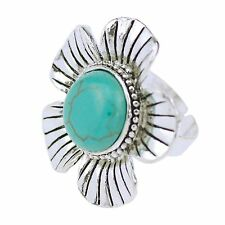 New Elegant Flower Shape Round Turquoise Tibetan Silver Ring Woman Jewelry Gift