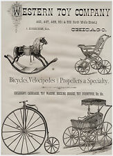 SUPER Western Toy Company 1879 Lg Advertising - Bicycle Velocipede etc