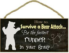 """Black How To Survive A Bear Attack Be Fastest Runner Funny Camping Sign 5""""x10"""""""