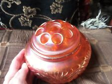 """VINTAGE THICK HEAVY CARNIVAL LUSTRE GLASS BOWL WITH 9 HOLE FLOWER FROG LID 7"""""""