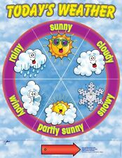 NEW School Weather Dial Chart Classroom School Wall Learn Teach Wipe Off Surface