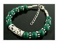 Beautiful Tibet Silver green jade bead bracelet