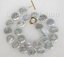 "16.5"" 15mm Gray coin fastener freshwater pearls necklace j8742"