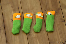 4 x Orange & Green Chair Socks Table Furniture Foot Leg Sleeves Covers Protector