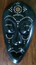 Senegalese wooden tribal mask inlaid with mother of pearl and brass