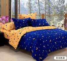 Sale Kid Gift Blue Star Moon Duvet Cover Pillowcase Quilt Cover Queen Size O
