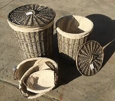 S/5 Nature Willow Cane Laundry Baskets With Dotty Lining