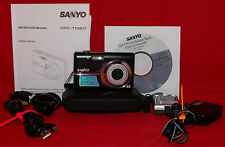 Sanyo VPC-T1060 Digital Camera Manual CD Charger Connectors Battery Case Bundle