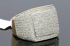 1.61 CARAT MENS YELLOW GOLD FINISH REAL DIAMOND ENGAGEMENT WEDDING PINKY RING