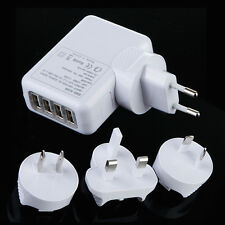 4 Ports USB Multi Adapter Travel Wall AC Charger with UK EU US AU + 4 Plug White