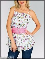 O3 White Pink Cute Floral Strap-less Mini Dress TOP Sexy Casual Juniors S M L
