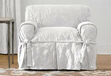 Matelasse Damask One Piece Slipcovers  Chair White