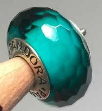 Authentic Pandora SILVER 925 ale charm bead  glass Teal  Fascinating