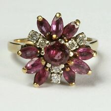 Vintage Diamond & Ruby 14K Yellow Gold  Flower Ladies Ring - Size 6.5  (6.5 gr)