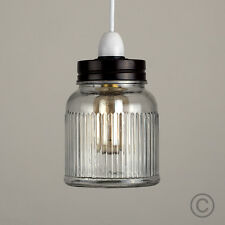 Contemporary Ribbed Glass Jar Ceiling Light Shade Industrial Style Lighting Home