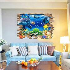 Wandtattoo Wandsticker Sticker Kinderzimmer Meer Unterwasserwelt Delphin Groß XL