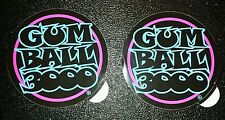 "2 New Blue & Pink ""GUM BALL 3000"" Rally Racing Decal Sticker,  4 X 4 IN."