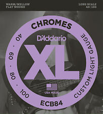 D'ADDARIO ECB84 CHROMES FLATWOUND BASS STRINGS, CUSTOM LIGHT GAUGE 4's   40-100