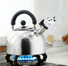 Stainless Steel Whistling Tea Kettle Water Pot Coffee Boiler Handle Silver 1.9Qt