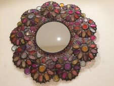 "The Pier Filigree Beaded Flower Wall Mirror 20"" in diameter"
