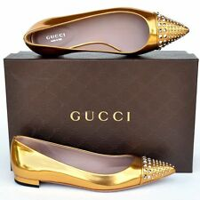 GUCCI New sz 37 - 7 Authentic Designer Womens Studded Ballet Flats Shoes gold