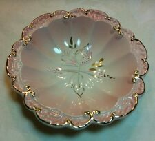 Rare Victorian Royal Norfolk Pink Rose and Gold Gilt Floral Ruffled Bowl England