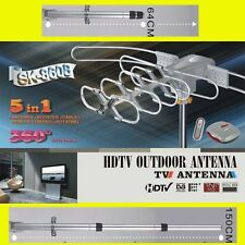 POST+HDTV Outdoor Amplified Antenna HD TV UHF/VHF/FM 150 Miles Rotor Remote 360°