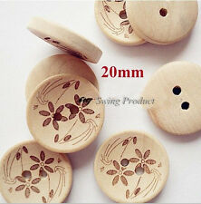 100 pcs Natural color wooden buttons,flower pattern sewing buttons