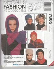 McCalls Sewing Pattern Ladies Scarf HatsCap Gloves Head band Small Medium Large
