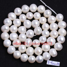 8-9mm Natural White Freshwater Pearl Oval Shape Gems DIY Loose Beads Strand 15""