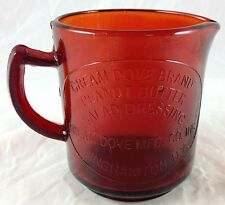 RUBY RED GLASS CREAM DOVE PEANUT BUTTER BINGHAMTON NY 1 CUP SIZE MEASURING CUP