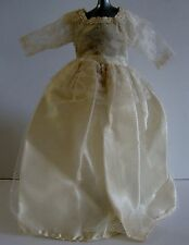 Vintage Antique Off White Lace Trim Doll Dress With Netting Overlay
