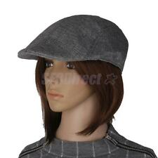 Mens Flat Cap Baker Boy Hat Peaked NewsBoy Country Farmer Beret Unisex Grey