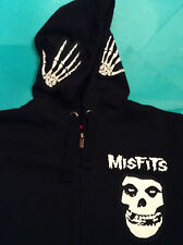 Misfits Crimson Ghost Skull Skeleton Hands Black Hooded Top XXL Fiend Club Punk