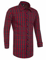 Men's Designer Slim Fit Long Sleeve Shirts Check Plain Cotton Work Casual Shirts